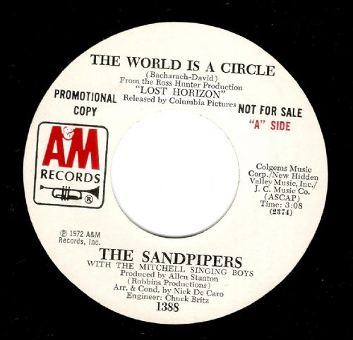 THE SANDPIPERS The World Is A Circle Vinyl Record 7 Inch US A&M 1972 Promo
